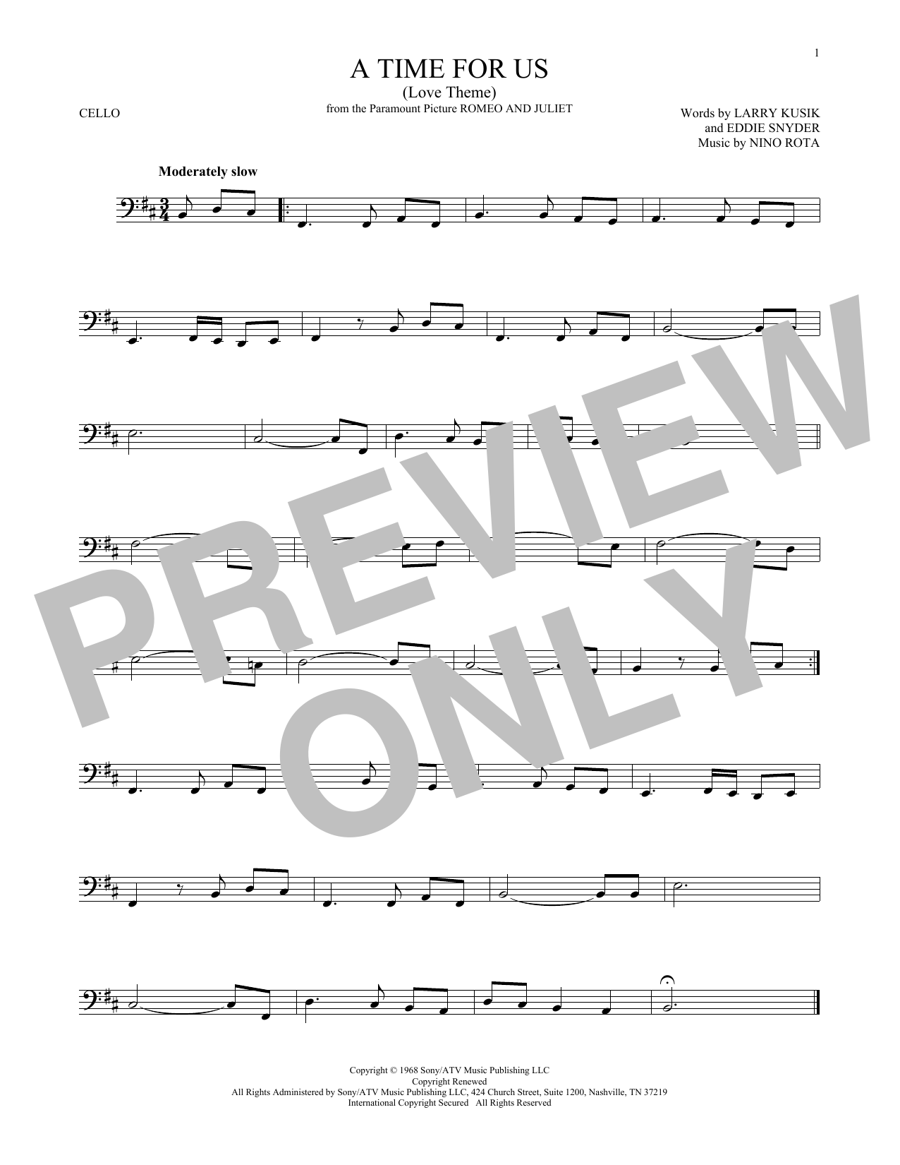 Larry Kusik A Time For Us (Love Theme) sheet music notes and chords. Download Printable PDF.