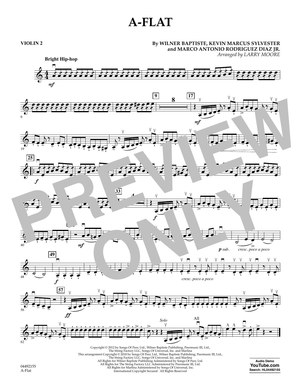 Larry Moore A-Flat - Violin 2 sheet music notes and chords. Download Printable PDF.