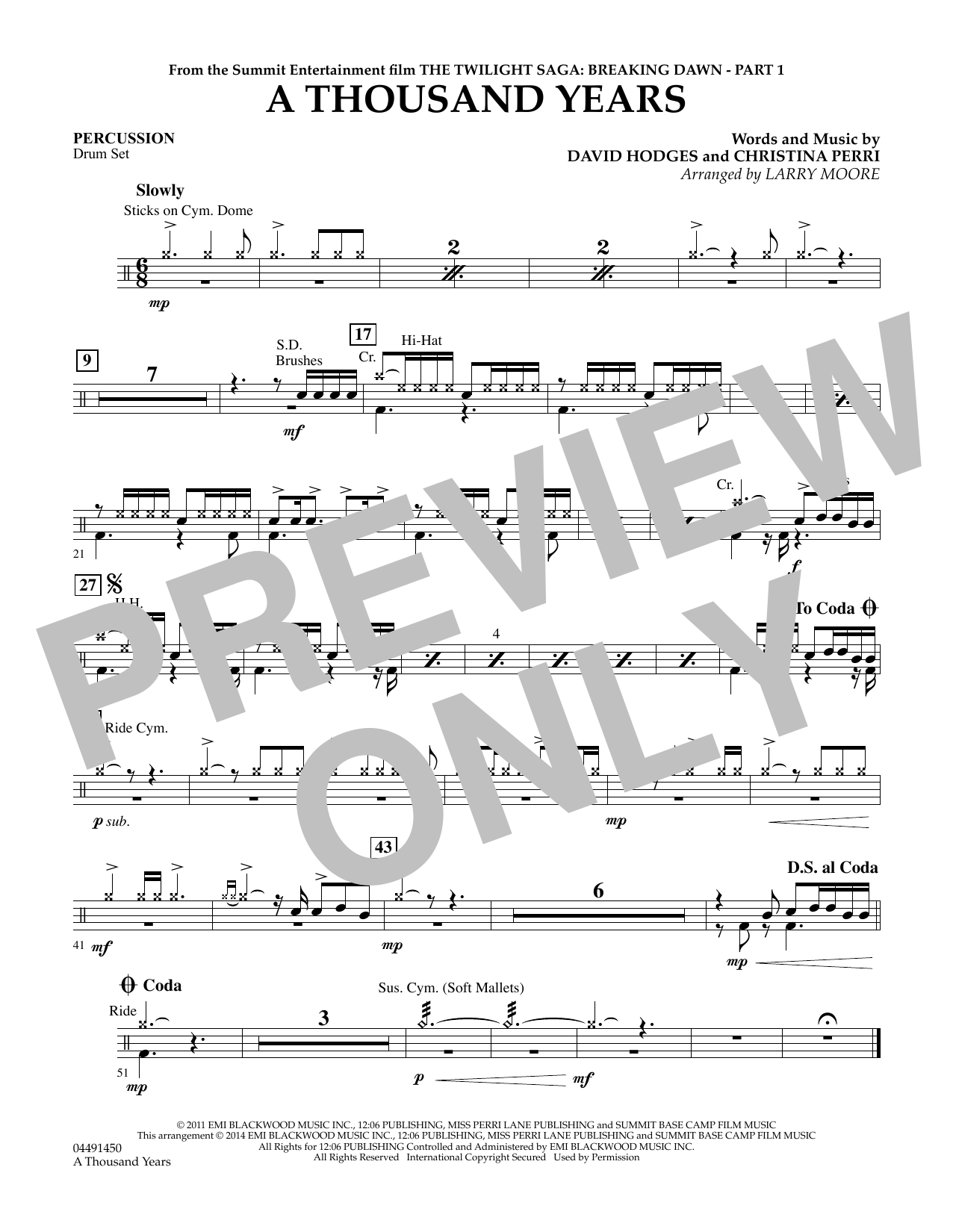 Larry Moore A Thousand Years - Percussion sheet music notes and chords. Download Printable PDF.