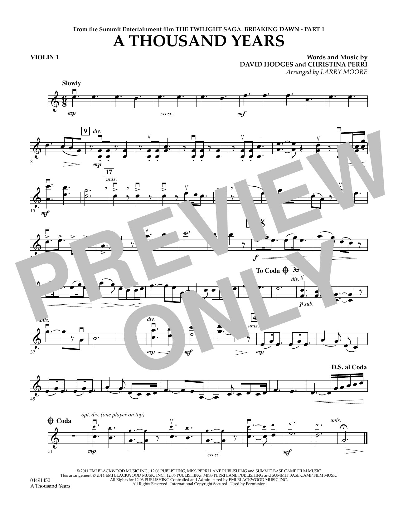 Larry Moore A Thousand Years - Violin 1 sheet music notes and chords. Download Printable PDF.