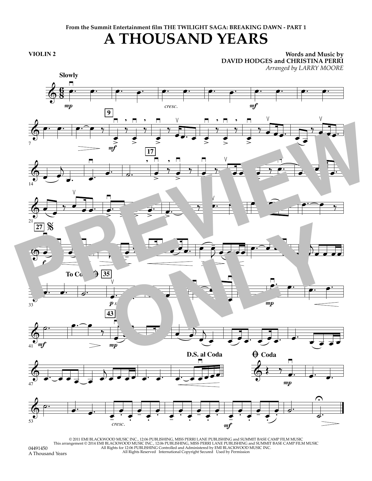 Larry Moore A Thousand Years Violin 2 Sheet Music Pdf Notes Chords Film Tv Score Orchestra Download Printable Sku 344137