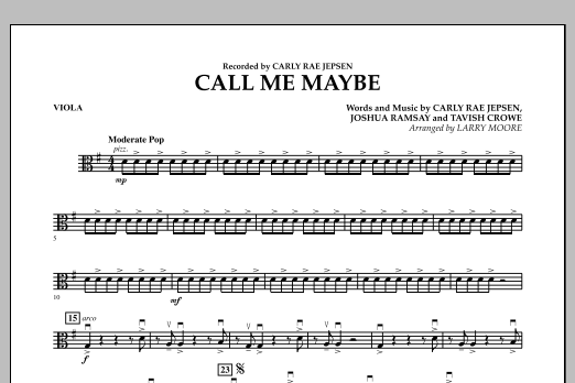 Larry Moore Call Me Maybe - Viola sheet music notes and chords. Download Printable PDF.