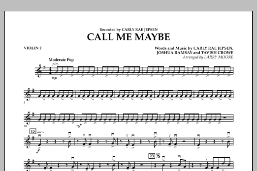 Larry Moore Call Me Maybe - Violin 2 sheet music notes and chords. Download Printable PDF.