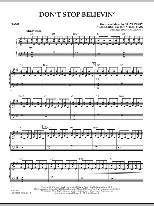 Larry Moore Don't Stop Believin' - Piano sheet music notes and chords. Download Printable PDF.