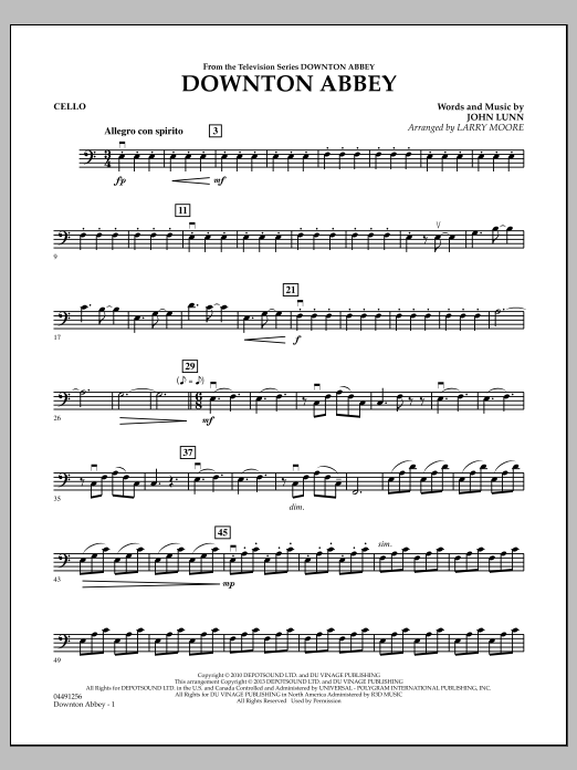 Larry Moore Downton Abbey - Cello sheet music notes and chords. Download Printable PDF.