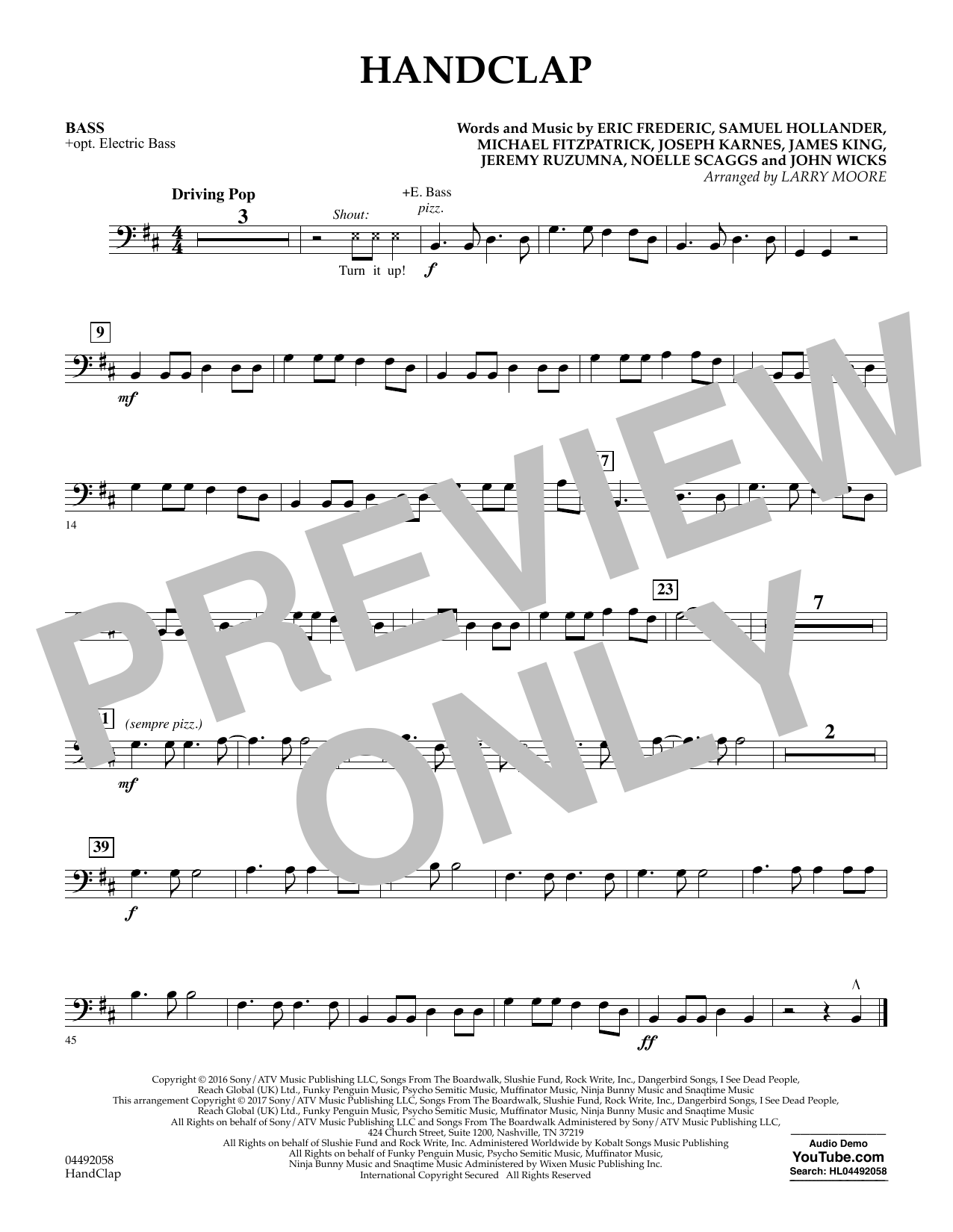 Larry Moore HandClap - Bass sheet music notes and chords. Download Printable PDF.