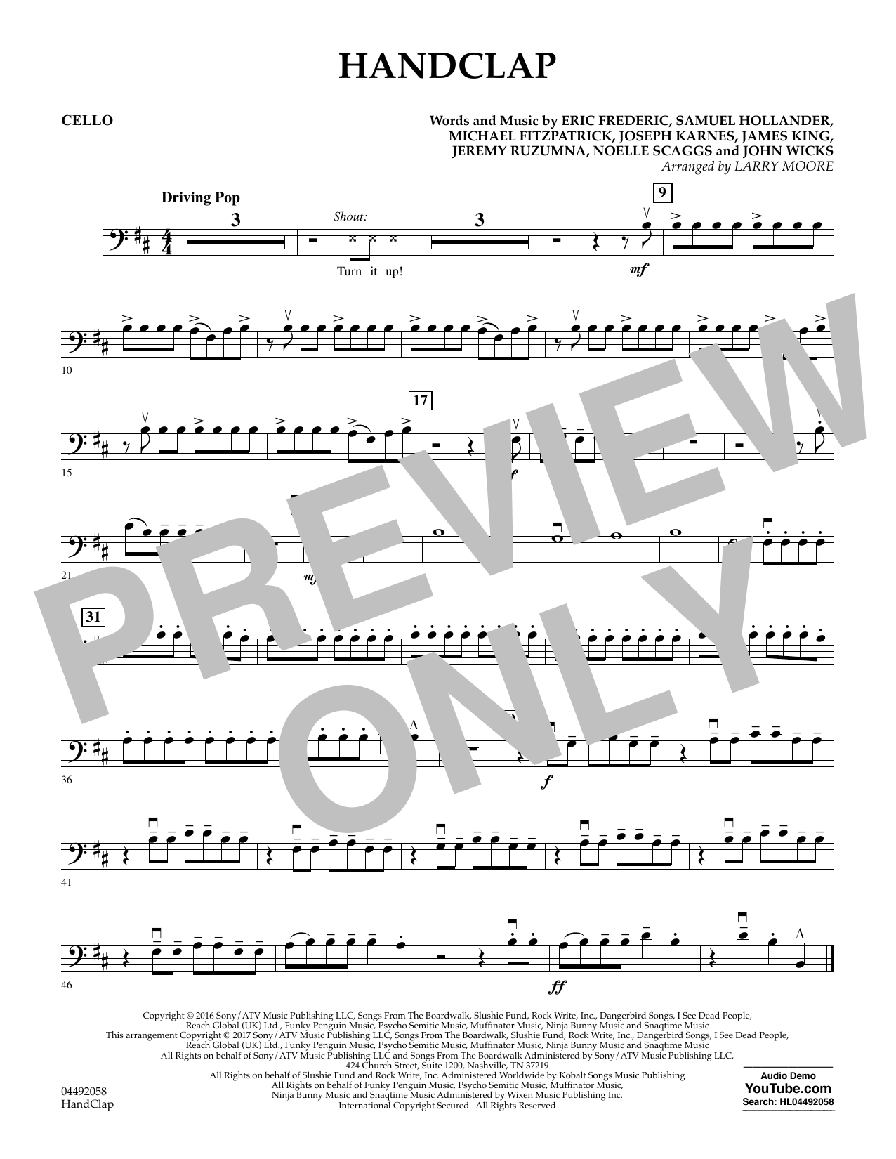 Larry Moore HandClap - Cello sheet music notes and chords. Download Printable PDF.