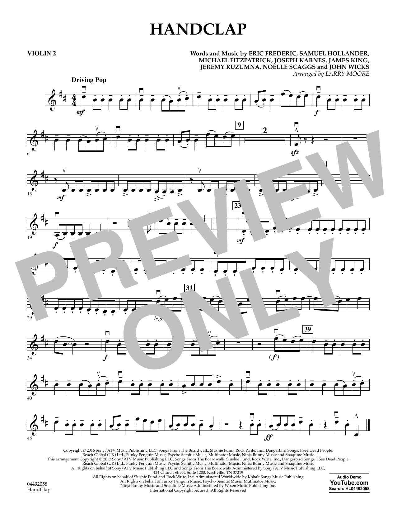 Larry Moore HandClap - Violin 2 sheet music notes and chords. Download Printable PDF.