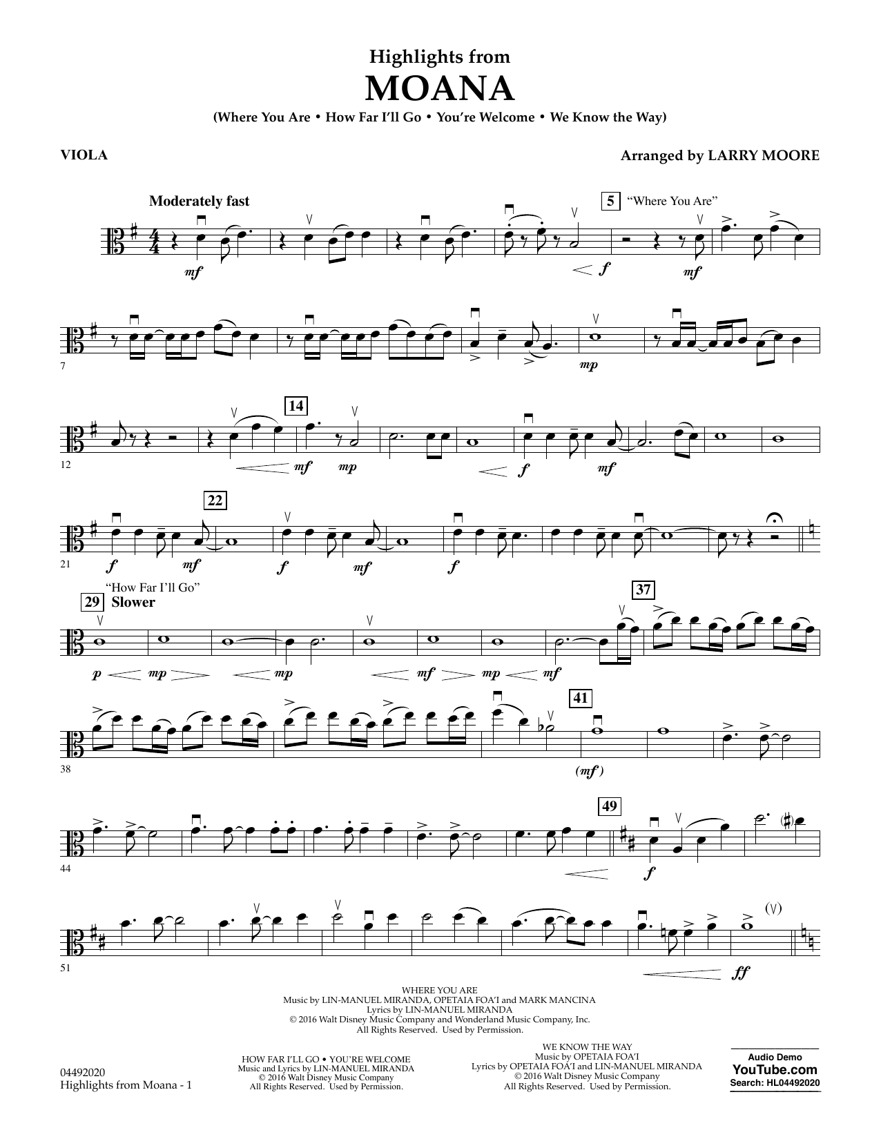 Larry Moore Highlights from Moana - Viola sheet music notes and chords. Download Printable PDF.