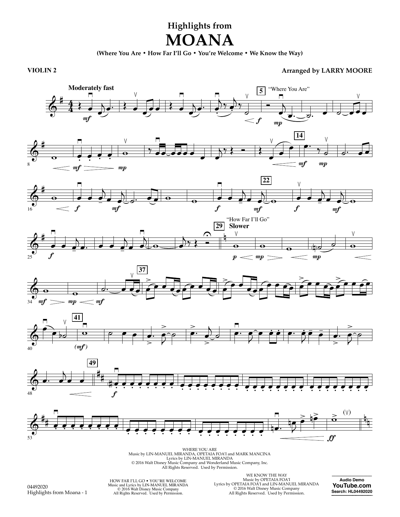 Larry Moore Highlights from Moana - Violin 2 sheet music notes and chords. Download Printable PDF.