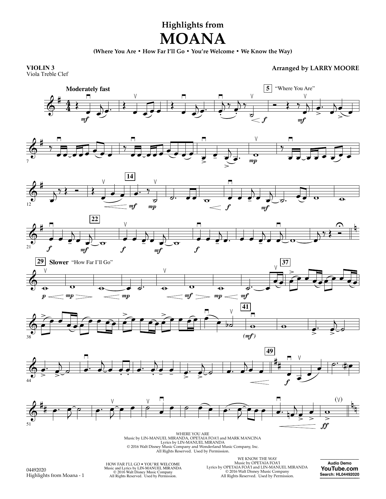 Larry Moore Highlights from Moana - Violin 3 (Viola Treble Clef) sheet music notes and chords. Download Printable PDF.