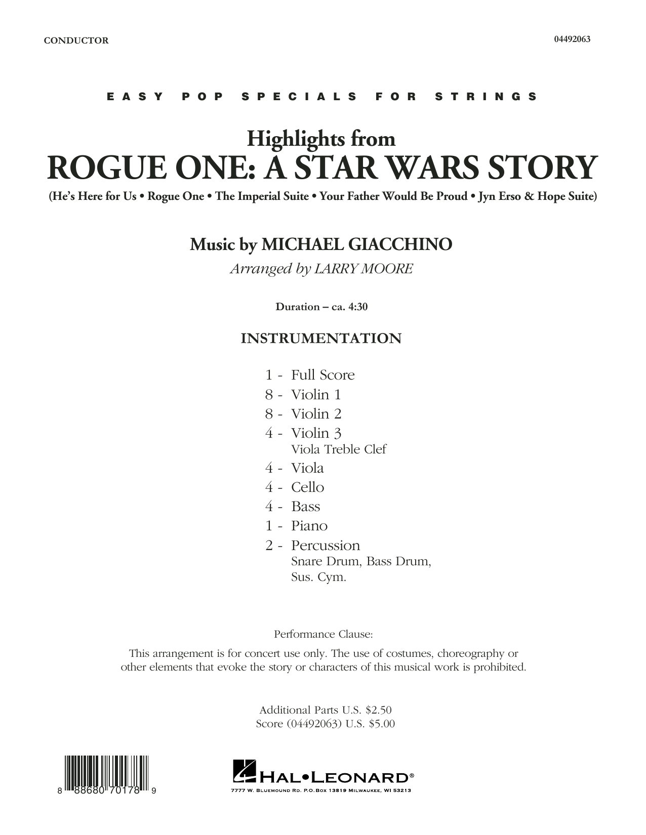 Larry Moore Highlights from Rogue One: A Star Wars Story - Conductor Score (Full Score) sheet music notes and chords. Download Printable PDF.