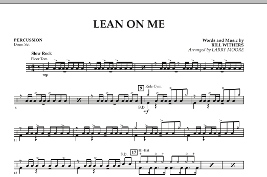 Larry Moore Lean On Me - Percussion sheet music notes and chords. Download Printable PDF.