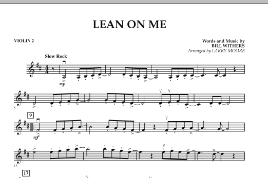 Larry Moore Lean On Me - Violin 2 sheet music notes and chords. Download Printable PDF.