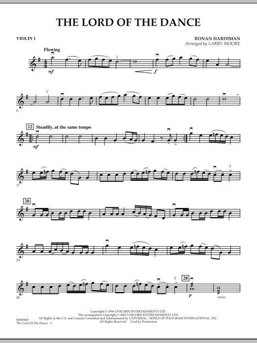 Larry Moore Lord Of The Dance - Violin 1 sheet music notes and chords. Download Printable PDF.