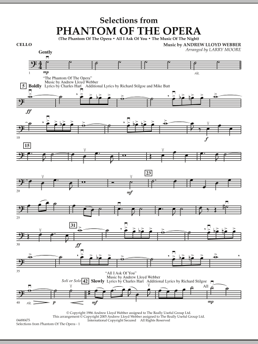 Larry Moore Selections from Phantom Of The Opera - Cello sheet music notes and chords. Download Printable PDF.
