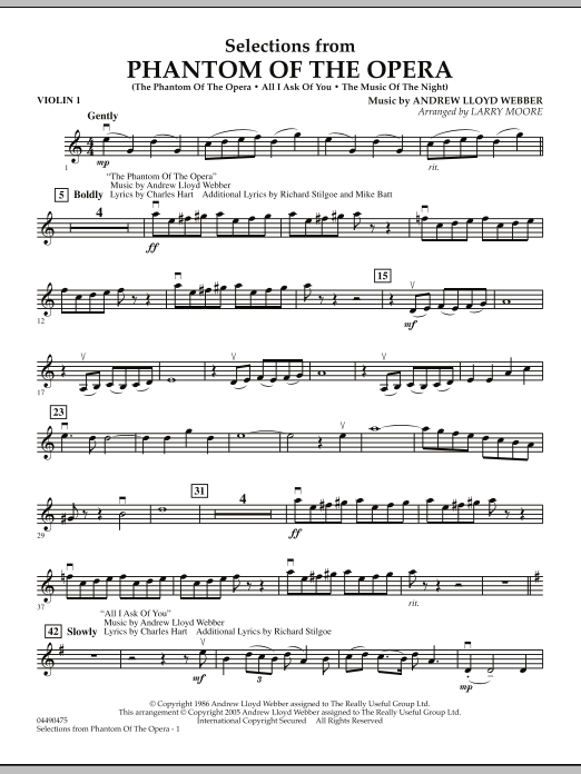 Larry Moore Selections from Phantom Of The Opera - Violin 1 sheet music notes and chords. Download Printable PDF.