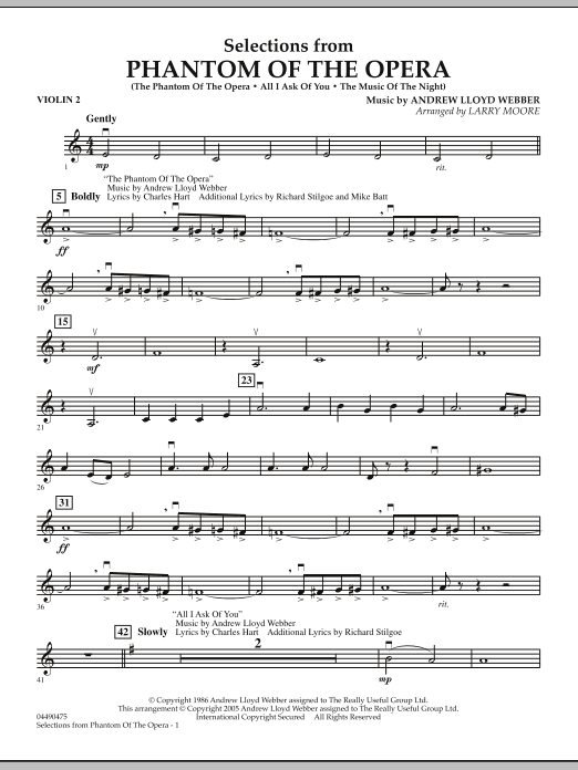 Larry Moore Selections from Phantom Of The Opera - Violin 2 sheet music notes and chords. Download Printable PDF.