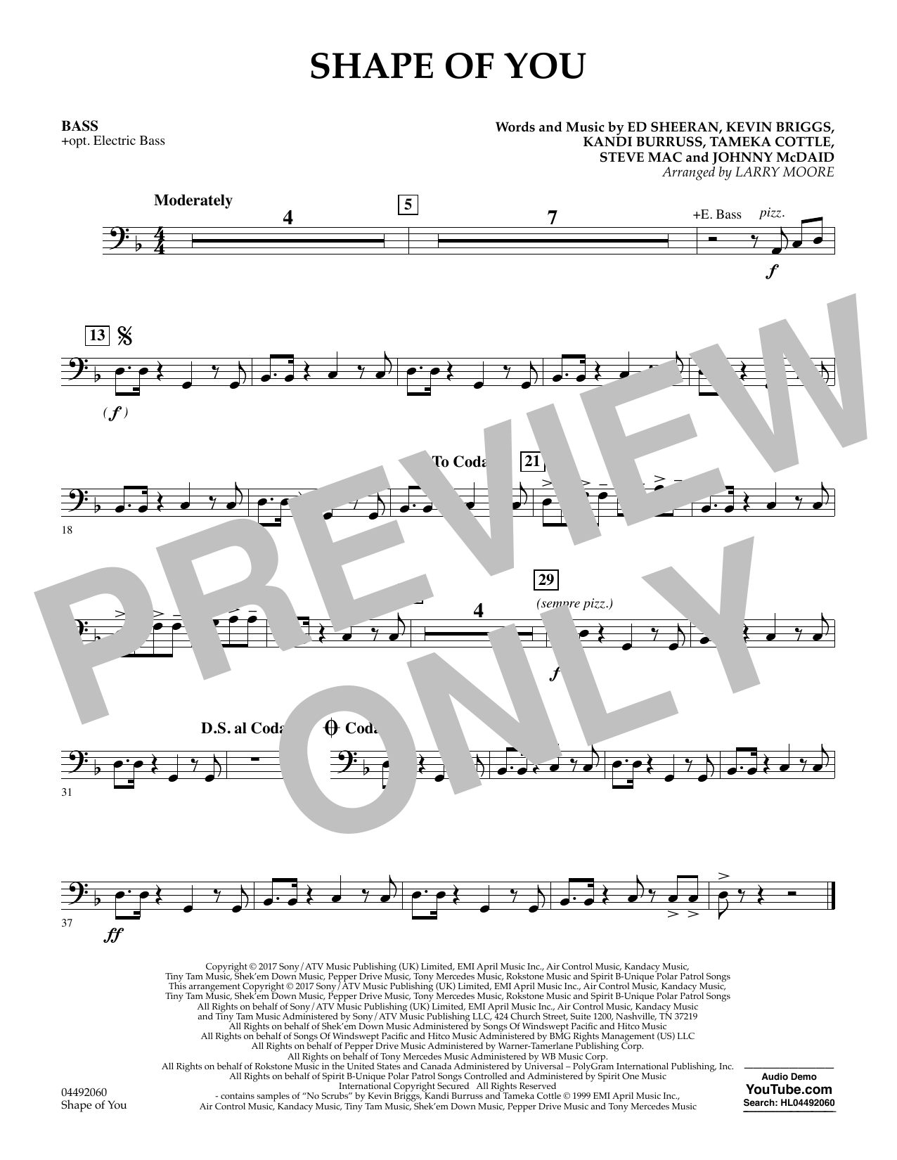 Larry Moore Shape of You - Bass sheet music notes and chords. Download Printable PDF.