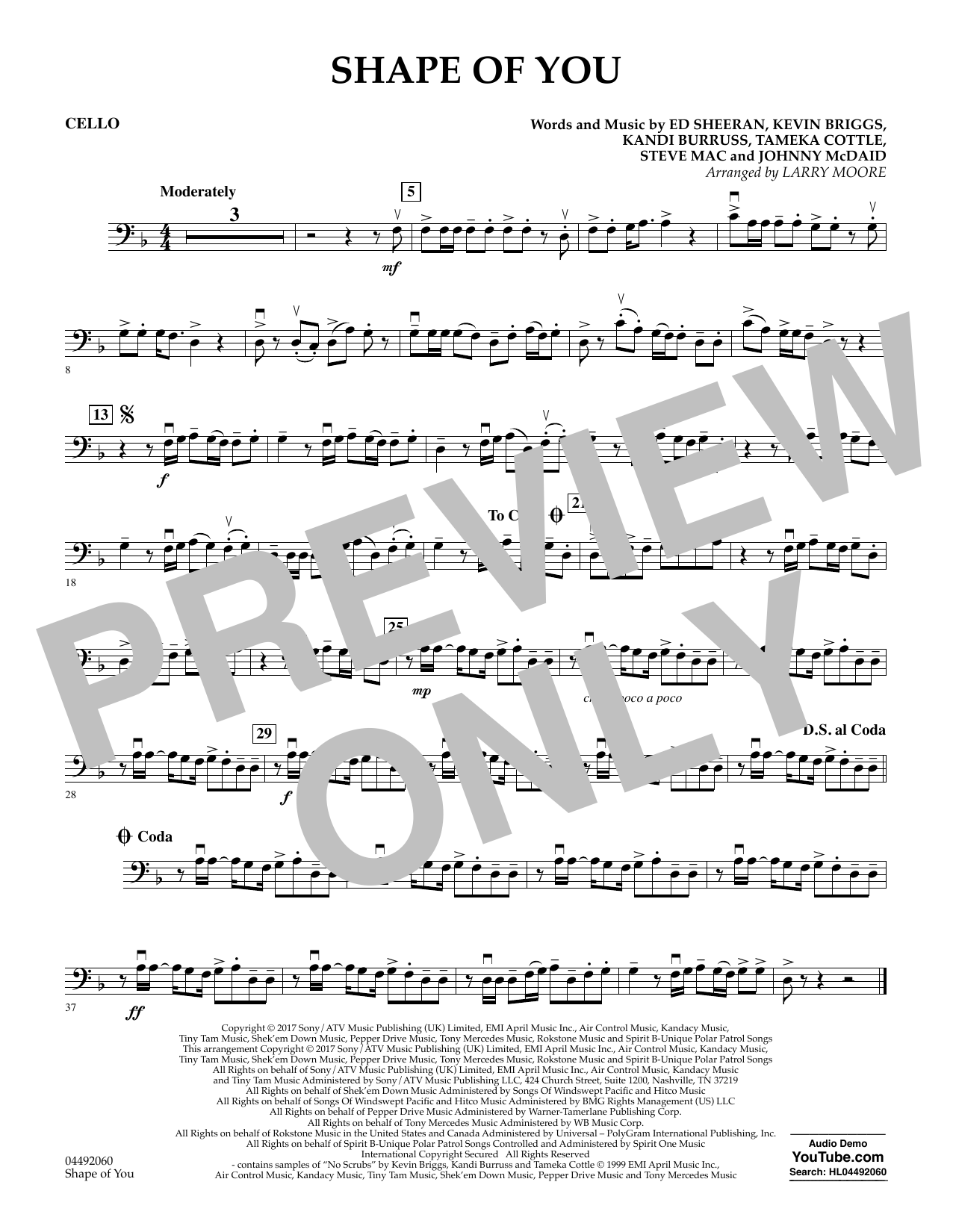 Larry Moore Shape of You - Cello sheet music notes and chords. Download Printable PDF.