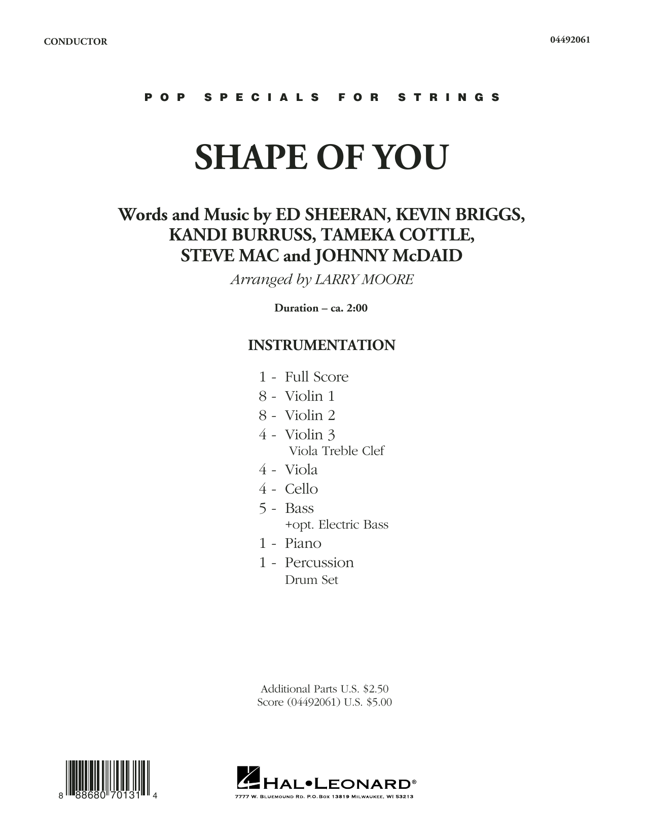 Larry Moore Shape of You - Conductor Score (Full Score) sheet music notes and chords. Download Printable PDF.