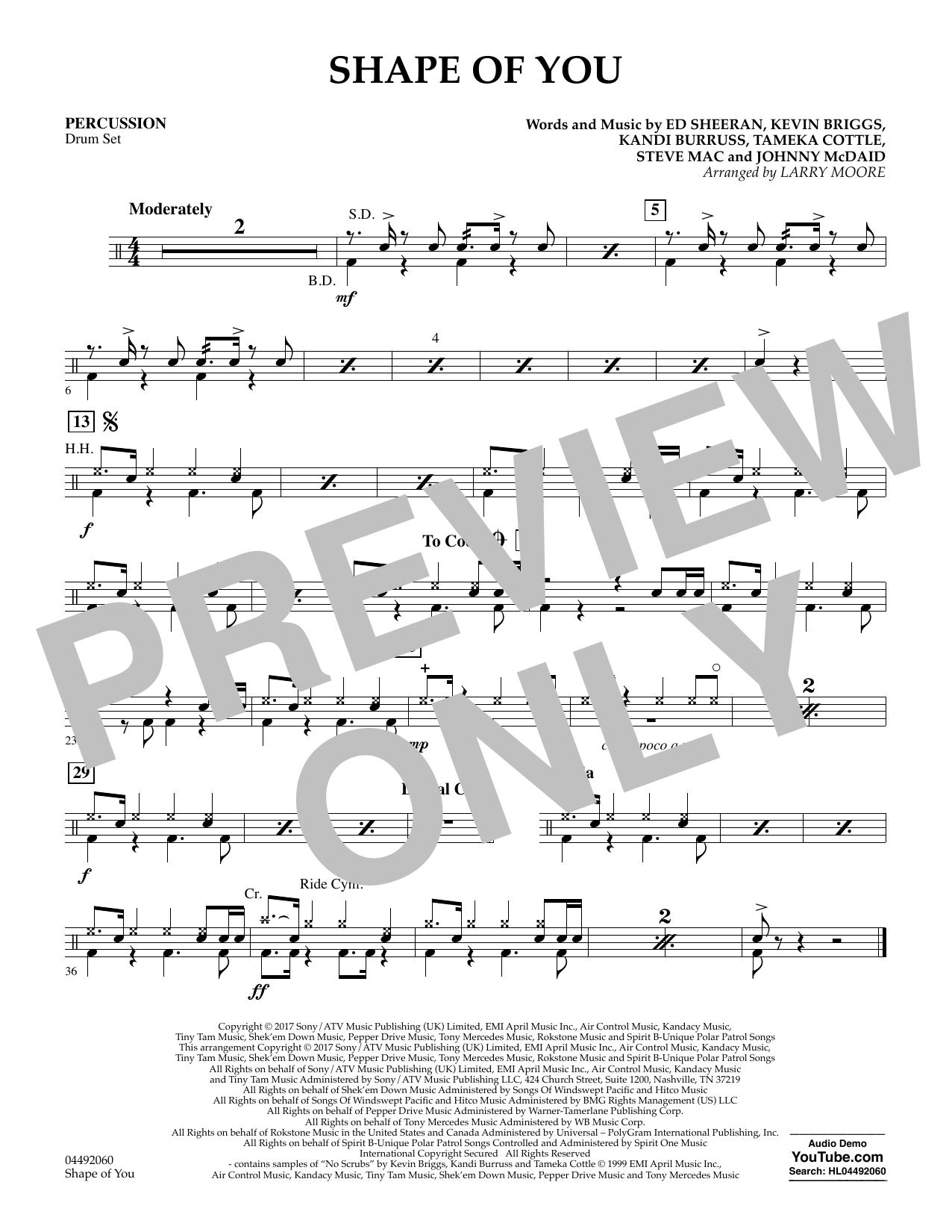 Larry Moore Shape of You - Percussion sheet music notes and chords. Download Printable PDF.