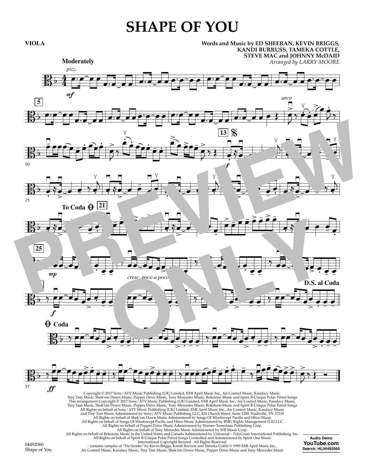 Larry Moore Shape of You - Viola sheet music notes and chords. Download Printable PDF.