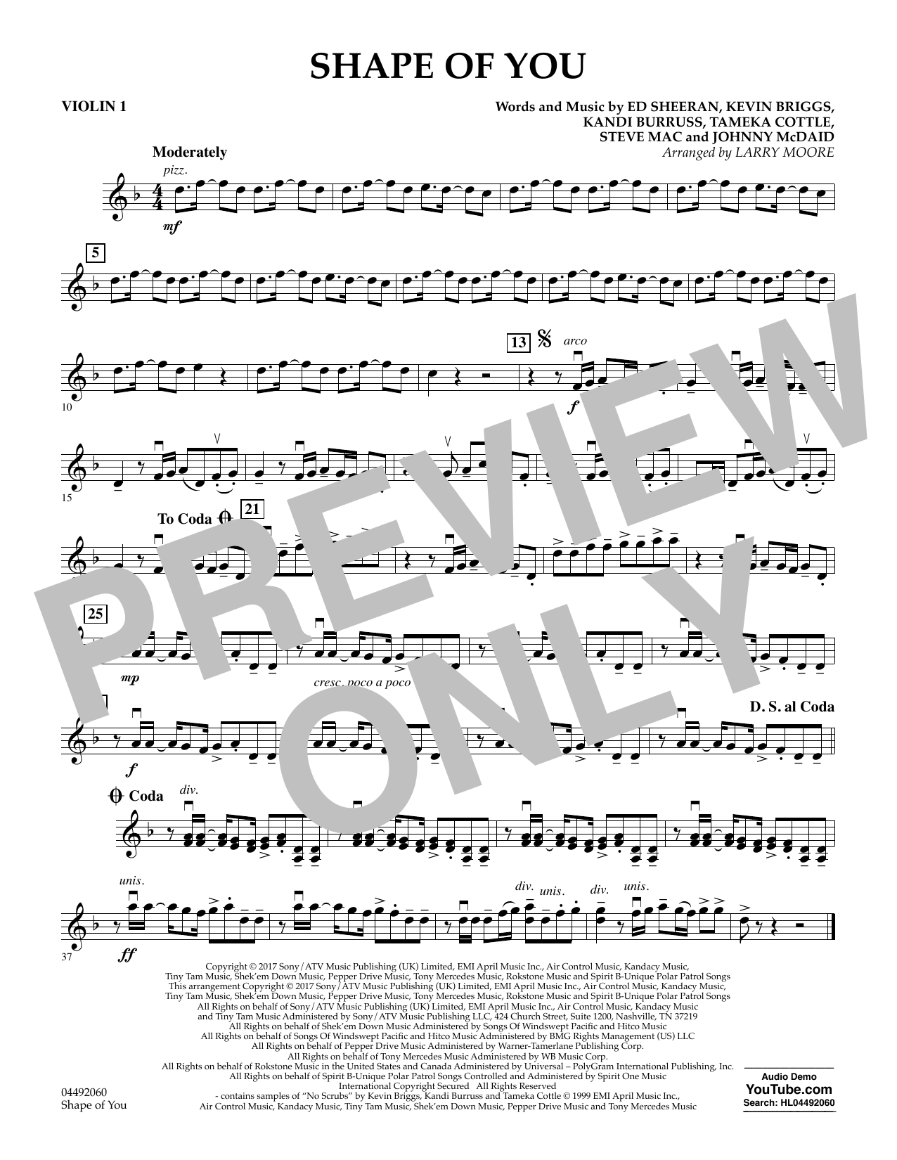 Larry Moore Shape of You - Violin 1 sheet music notes and chords. Download Printable PDF.
