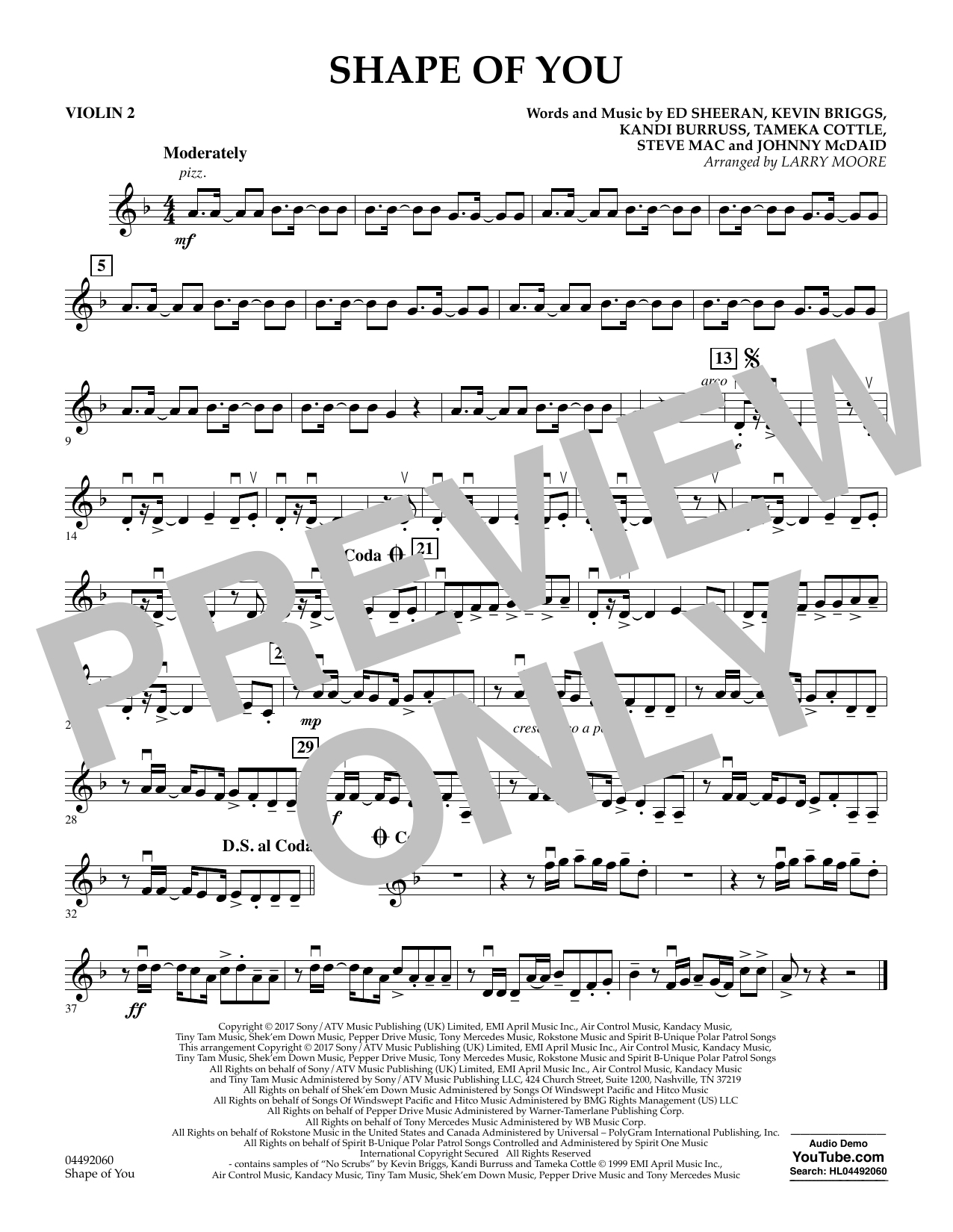 Larry Moore Shape of You - Violin 2 sheet music notes and chords. Download Printable PDF.