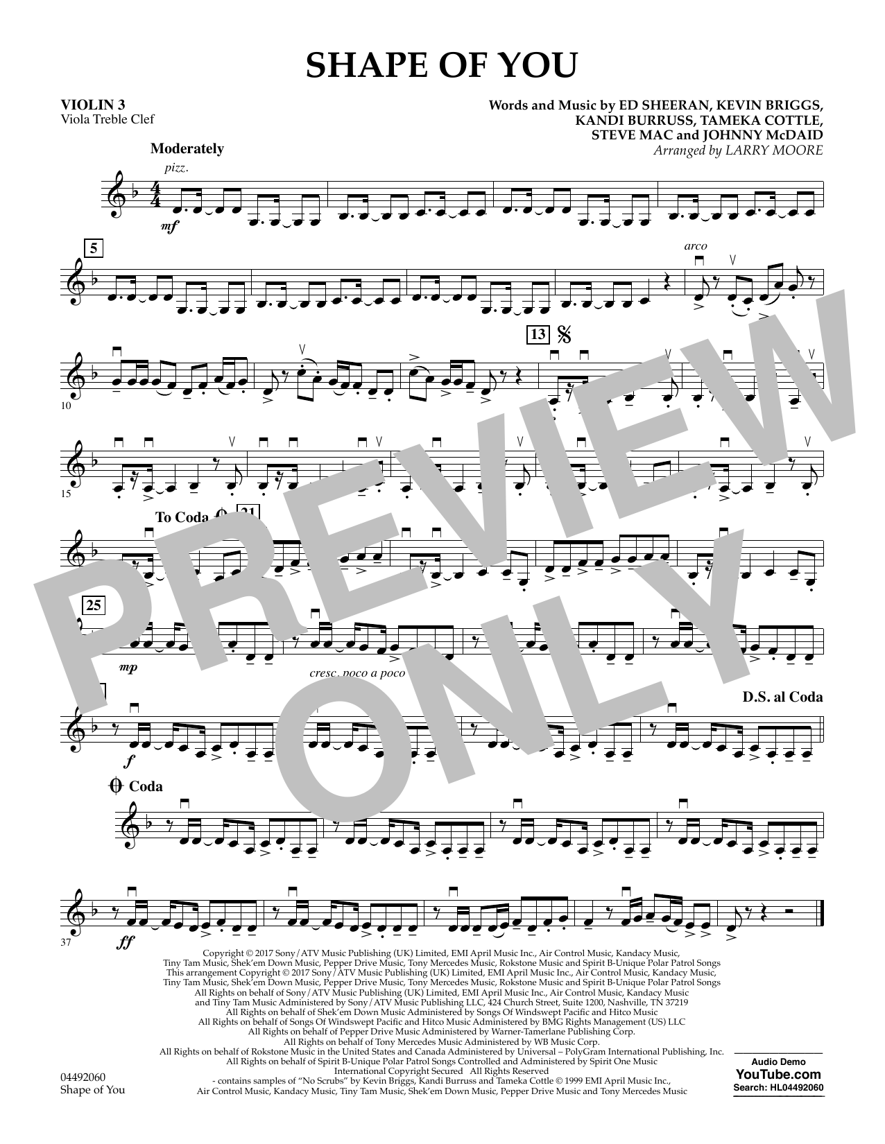 Larry Moore Shape of You - Violin 3 (Viola Treble Clef) sheet music notes and chords. Download Printable PDF.