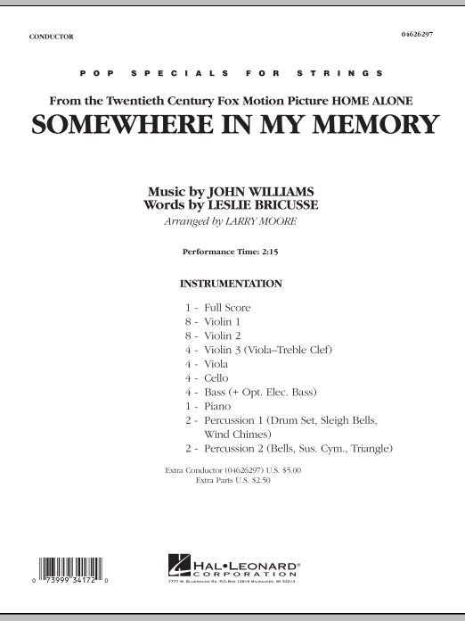 Larry Moore Somewhere In My Memory (from Home Alone) - Conductor Score (Full Score) sheet music notes and chords. Download Printable PDF.