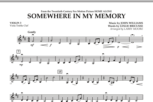 Larry Moore Somewhere In My Memory (from Home Alone) - Violin 3 (Viola Treble Clef) sheet music notes and chords. Download Printable PDF.