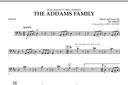 Larry Moore The Addams Family - Cello sheet music notes and chords. Download Printable PDF.