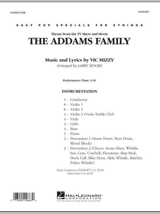 Larry Moore The Addams Family - Full Score sheet music notes and chords. Download Printable PDF.