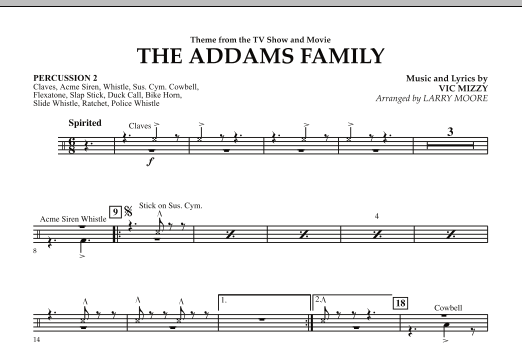 Larry Moore The Addams Family - Percussion 2 sheet music notes and chords. Download Printable PDF.
