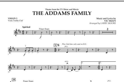 Larry Moore The Addams Family - Violin 3 (Viola Treble Clef) sheet music notes and chords. Download Printable PDF.