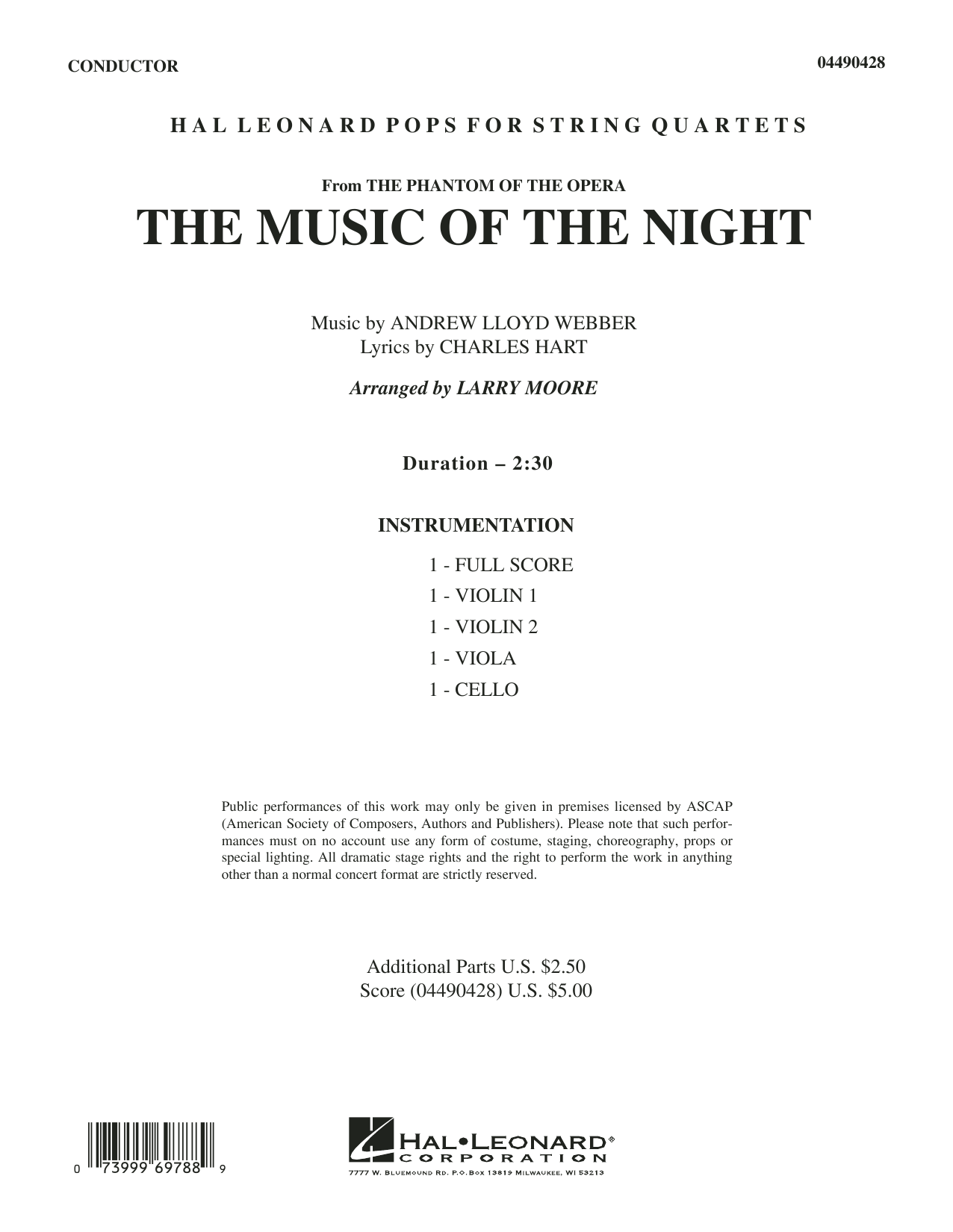 Larry Moore The Music of the Night (from The Phantom of the Opera) - Full Score sheet music notes and chords. Download Printable PDF.