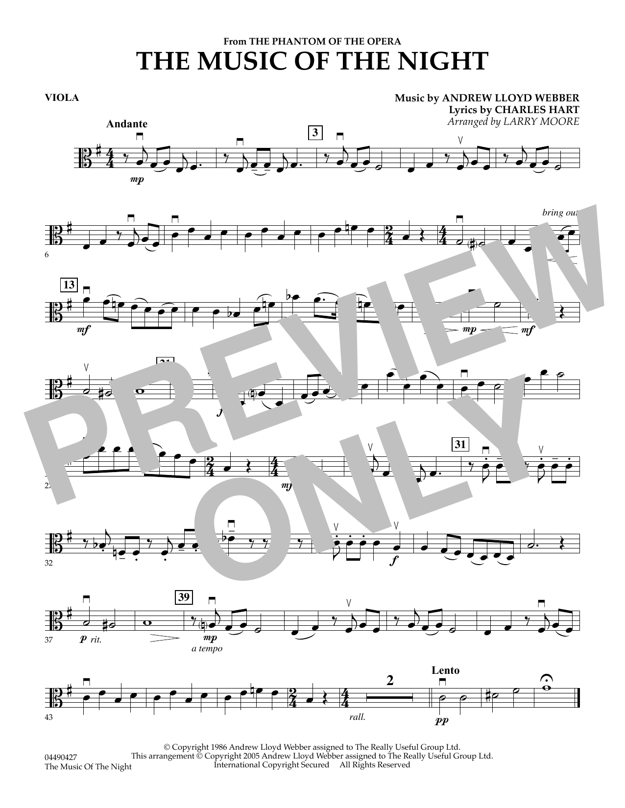 Larry Moore The Music of the Night (from The Phantom of the Opera) - Viola sheet music notes and chords. Download Printable PDF.