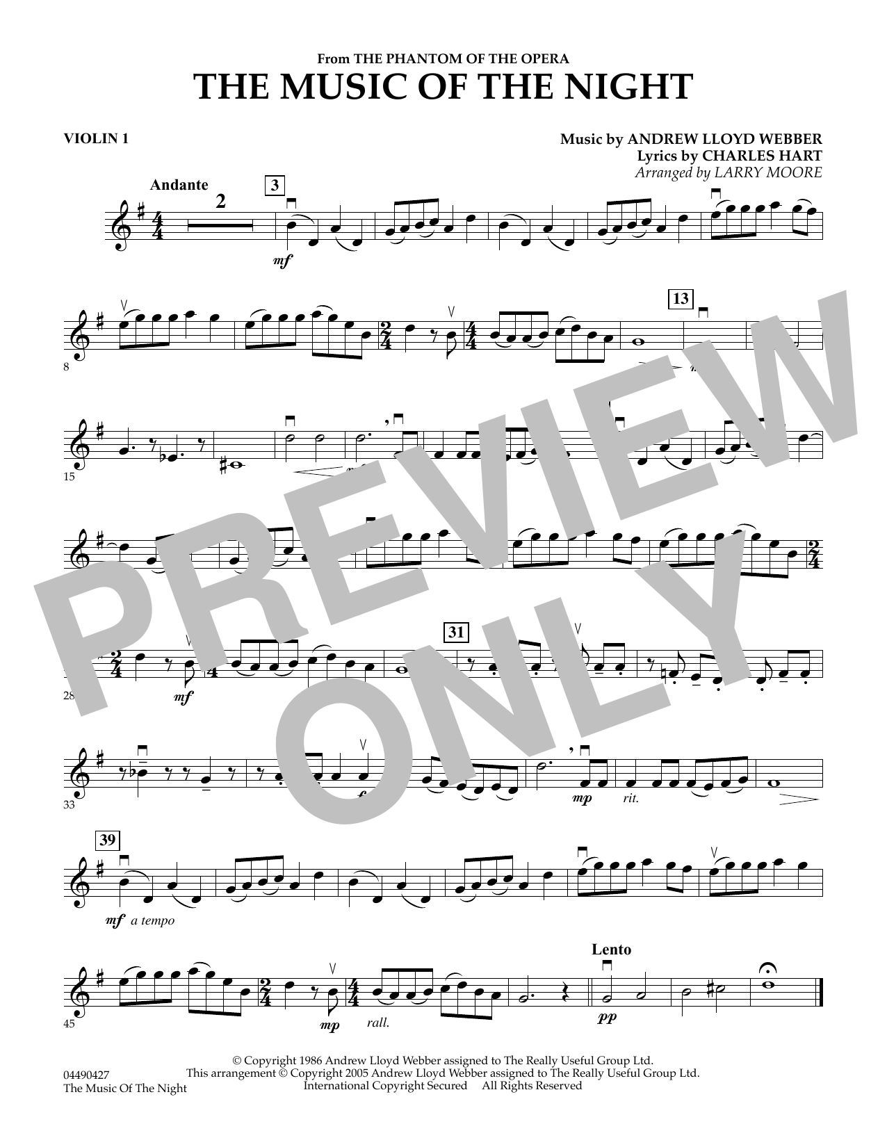 Larry Moore The Music of the Night (from The Phantom of the Opera) - Violin 1 sheet music notes and chords. Download Printable PDF.