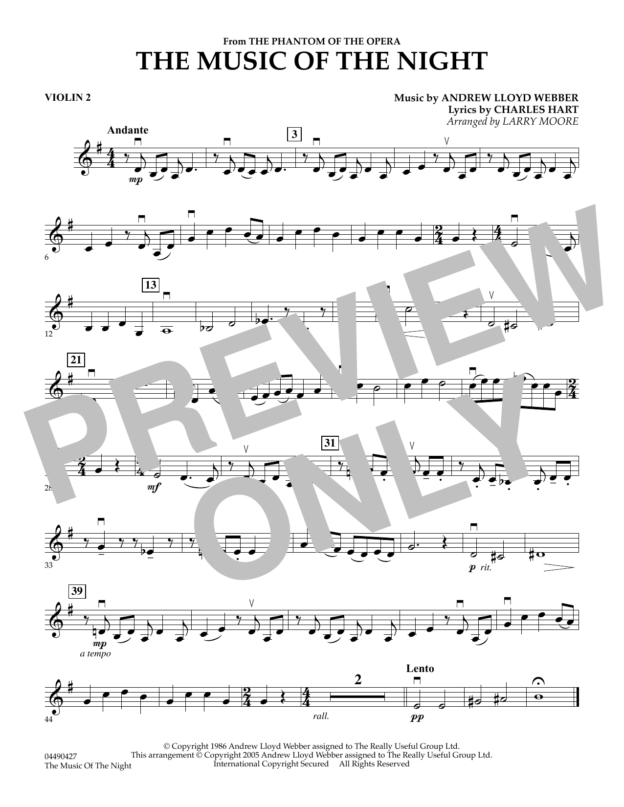 Larry Moore The Music of the Night (from The Phantom of the Opera) - Violin 2 sheet music notes and chords. Download Printable PDF.