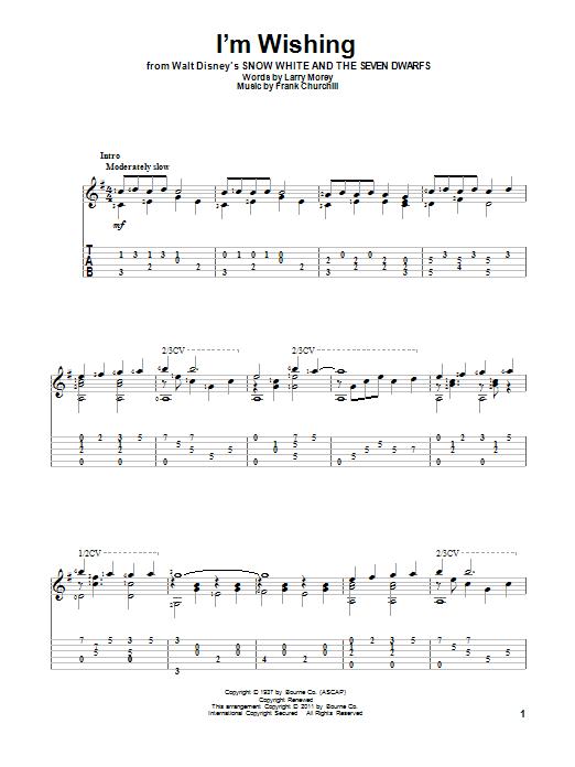 Larry Morey I'm Wishing sheet music notes and chords