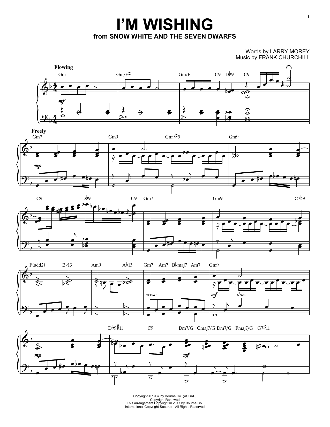Larry Morey I'm Wishing [Jazz version] (from Disney's Snow White And The Seven Dwarfs) sheet music notes and chords. Download Printable PDF.