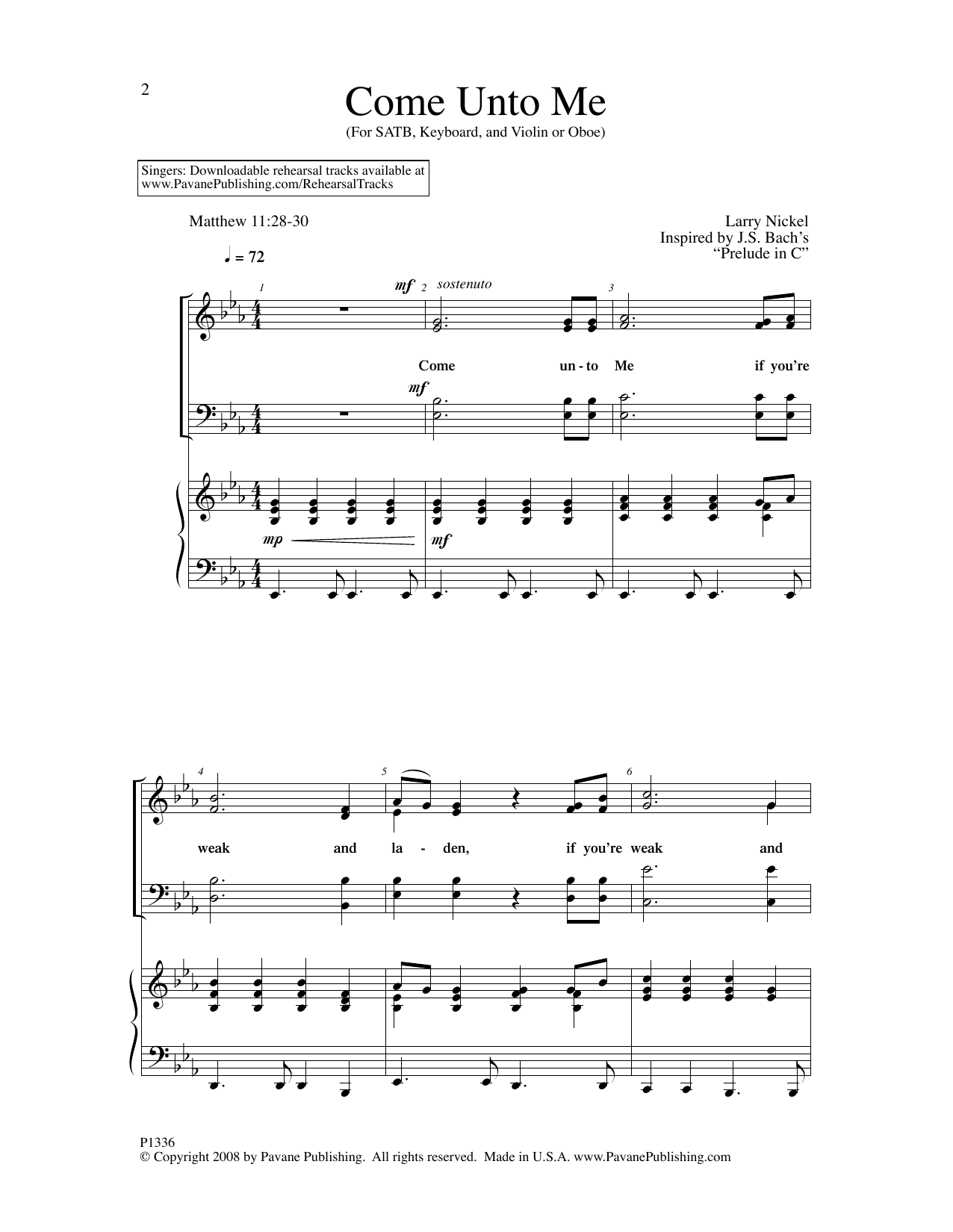 Larry Nickel Come Unto Me sheet music notes and chords. Download Printable PDF.