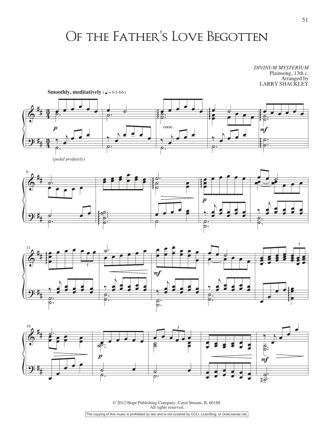 Larry Shackley Of the Father's Love Begotten sheet music notes and chords. Download Printable PDF.