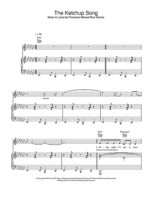 Las Ketchup The Ketchup Song sheet music notes and chords