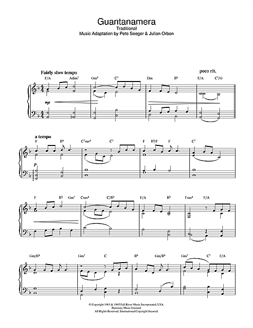 Latin-American Folksong Guantanamera sheet music notes and chords. Download Printable PDF.