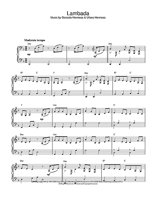 Latin-American Standard Lambada sheet music notes and chords. Download Printable PDF.