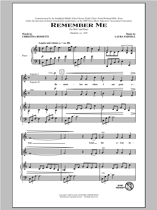 Laura Farnell Remember Me sheet music notes and chords. Download Printable PDF.