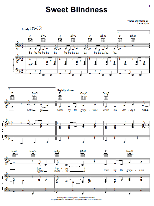 Laura Nyro Sweet Blindness sheet music notes and chords. Download Printable PDF.