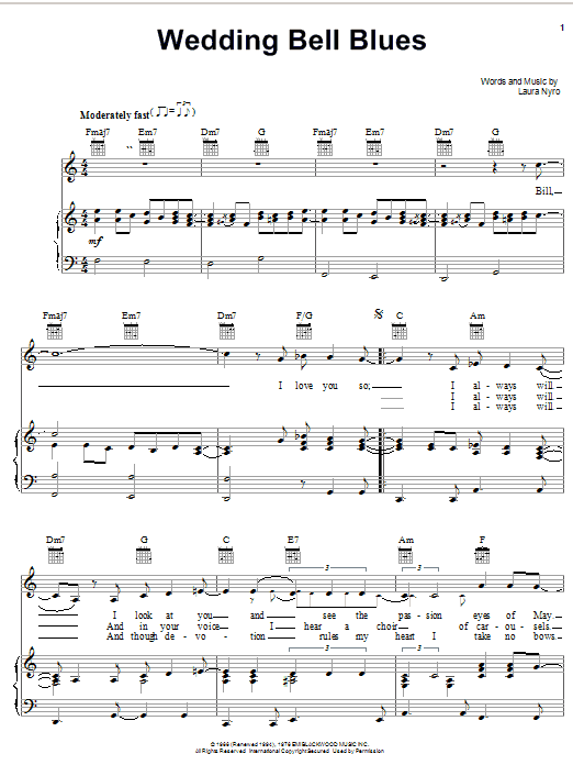 Laura Nyro Wedding Bell Blues sheet music notes and chords. Download Printable PDF.
